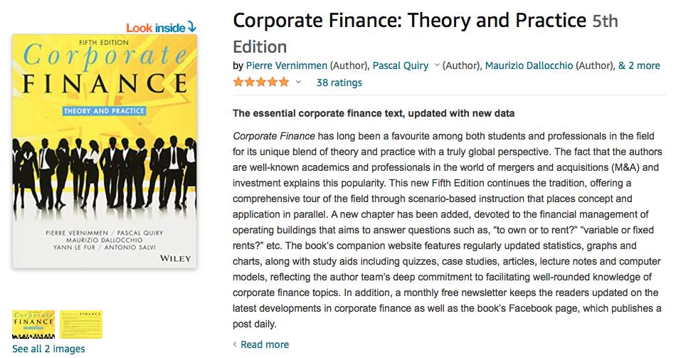 Corporate Finance Theory & Practice by Vernimmen, Quiry, Dallocchio. Le Fur, Salvi.