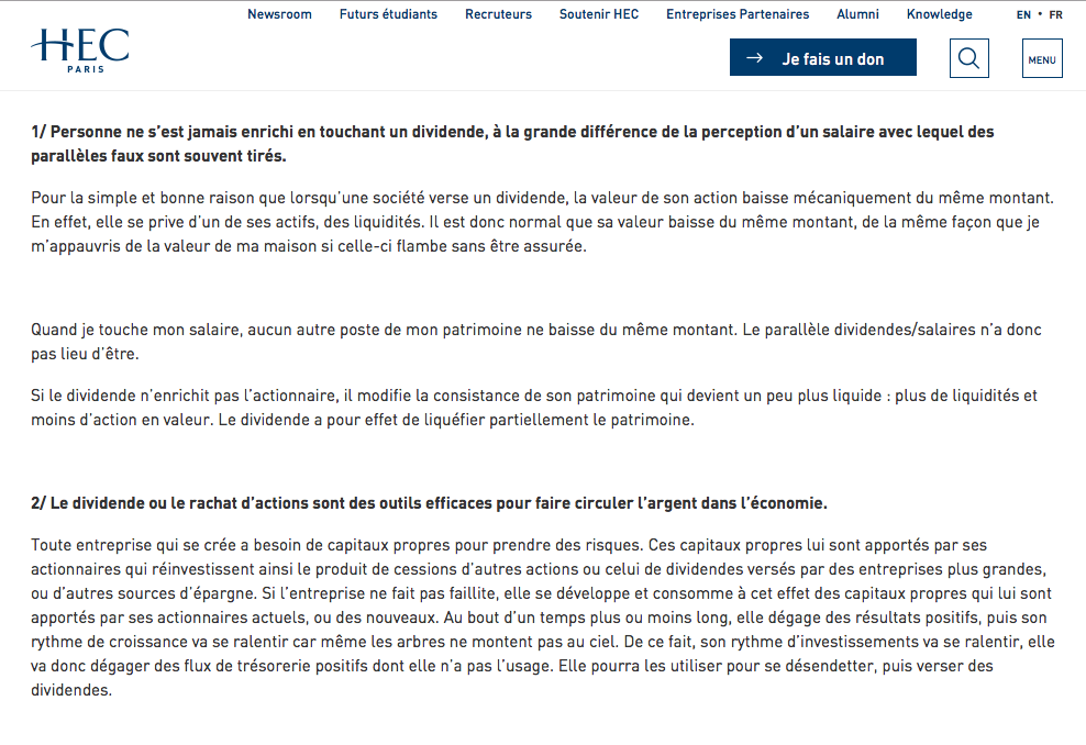 HEC Paris promoting Pascal Quiry's idea that dividend doesn't enrich shareholder