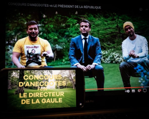 Emmanuel Macron with the YouTubers McFly and Carlito.