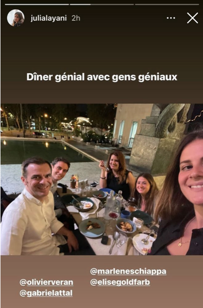 French Health Minister Olivier Veran, Minister Delegate in Charge of Citizenship Marlene Schiappa, French Government Spokesperson Gabriel Attal with Young Elites Influencers Elise Goldfarb and Julia Layani