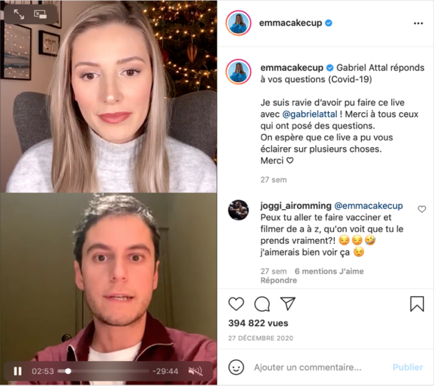 French Government Spokesperson Gabriel Attal with YouTube Vlogger Emma CakeCup