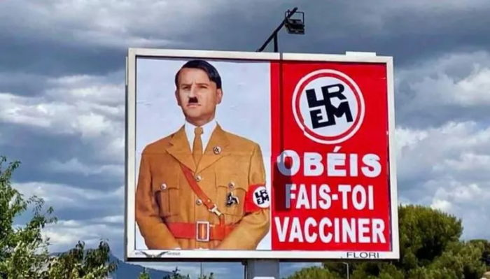 Macron depicted as Hitler for his strict health pass requirement